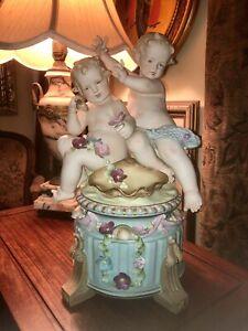 arnart Victorian porcelain bisque figural group cherubs Water babies Fairies Lg
