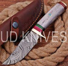 UD HANDMADE FIXED BLADE DAMASCUS ART HUNTER SKINNER KNIF CAMEL BONE HANDLE 10550