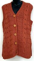 Vintage Trissi Womens Sweater Vest Chunky Knit Copper Brown Cable Acrylic Size M