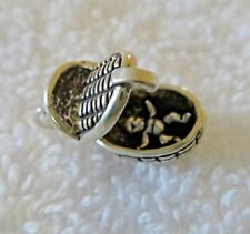 Sterling Silver 3D Movable 16x12x10mm Baby in a Basket Bassinet Charm