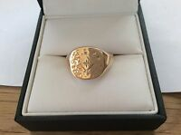 9ct Gold Gents signet ring set with single Diamond size bT
