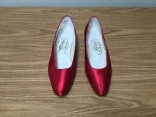 TOUCH UPS RED SATIN FLATS SZ 9M *003335*