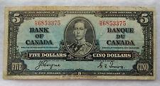 "1937 Canada 5 Dollars Banknote P.60.c ""Coyne - Towers"" SB3891"