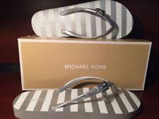 Michael Kors New in Box MK Glam Flip Flop w/Charm Buckle  - Silver Stripe Size 8