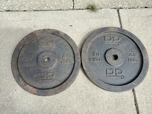 Pair of 2 VINTAGE DP 44 Pounds Weight Plates Cast Iron Barbell 20 Kilos Standard
