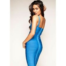 Blue Cut Out Caged Bodycon Rayon Bandage Sexy Party Midi Pretty Dress Size 10