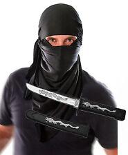 Mens Adult Ninja Terrorist Hood Fancy Dress Costume with Toy