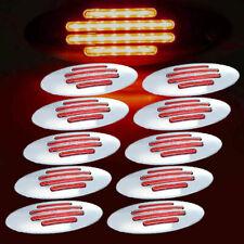 10 x Red Thin Side Marker Lights Clearance 24 LED Chrome For Freightliner 12V