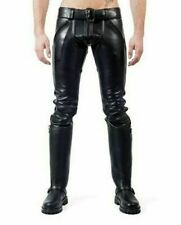 Men's Real Cowhide Leather Double Zips Pants Modern Gay Style Pants
