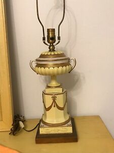Porcelain Urn Lamps Dresden style 28 Inch Working and good condition.