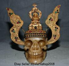 "10"" Old Tibet Crystal Copper Gilt Filigree Shakyamuni Buddha Skull Head Statue"
