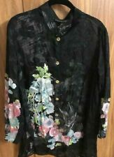 Citron Women's Silk/Rayon Sheer Floral Art Button Up 3/4 Sleeve Blouse Plus 1X