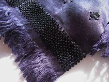 Dries Van Noten Silk Embroidered Scarf with fringe midnight blue excellent