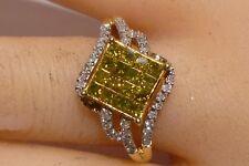Amazing Wedding Promise Ring 14K Y Gold Invisible Set Canary Diamonds 1.00 CT
