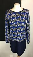 White Stuff Size 10 Blue Floral Print Long Sleeve Tunic Top