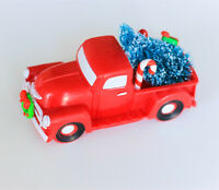 Vintage Classic Pickup Truck w/Tree Farm House Rustic Christmas Xmas Decor - Red