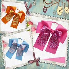 """10 BLESSING Happy Girl Hair Accessories 6"""" B- Double Cheer Leader Bows Elastics"""