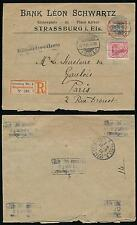GERMANY 1905 REGISTERED BANK LEON SCHWARTZ PRINTED ENV to FRANCE from STRASSBURG