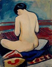 Sitting Nude with Pillow August Macke Nackte Frau Rücken Kissen Po B A3 00724