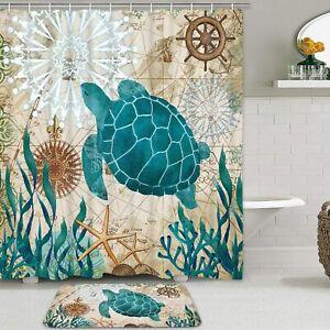 Sea Turtle Shower Bath Curtain Set with Non-Slip Bathroom Mats Nautical Ocean
