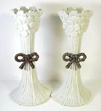 """Fitz And Floyd Daisy Boy Candlesticks Pair 1975 Brown Rope Bow 9 3/4"""""""
