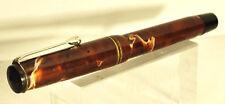 TITANUS fountain pen marble brown button filler vintage rare