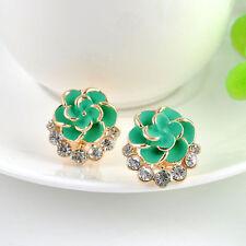 2016 Fashion Women Elegant Flower Crystal Rhinestone Ear Stud Earring Jewelry