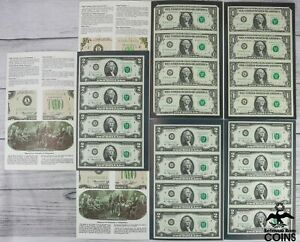Lot of 5: 1988 A $1 & 1976 $2* Bank Notes Uncut Sheets w/ Folders (FV $32)