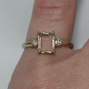 14k Yellow Gold Semi-Mount Ring w/ Diamond Accents ~ 0.15 ct tw ~ sz 6 ~ 1.99 gm