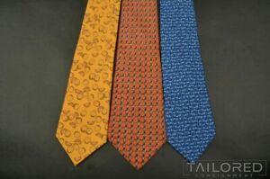 LOT of 3 - HERMES 7435 HA 59 EA 5333 TA Geometric 100% Silk Mens Luxury Ties