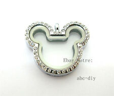 Locket fit Diy floating charms 1pcs 32.3*28mm mouse Floating living Glass