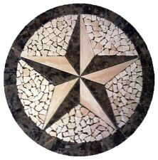 Floor Marble Round Medallion Travertine Texas Star Tile Mosaic 30 inches