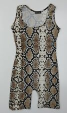 Pretty Little Thing Womens Brown Animal Print  Unitard One-Piece Size 8 L6 in