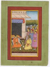 Mughal Court Miniature Painting Watercolor Old Paper Wall Decor Ethnic Moghul