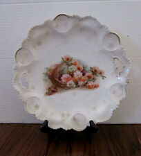 RS Prussia 10 inch Handle Cake Plate -- orange/white/purple roses in basket