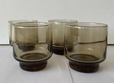 More details for luminarc france brown smoke glass drinking tumbler x 4 - vintage retro 70s