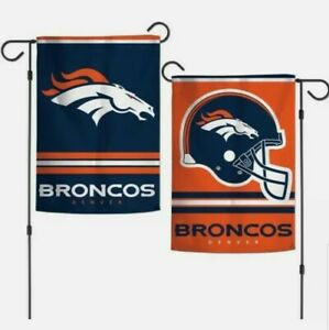 """NFL Denver Broncos 2 Sided 12.5"""" X 18"""" Garden Flag Wincraft ~ New in Package."""