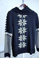 Talbots Lambswool Blend Navy, Black & White Fair Isle Sweater Size Large