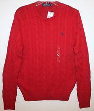 Polo Ralph Lauren Mens Tudor Red Cotton Cableknit Crewneck Sweater NWT L