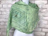Light Green Scarf With Caged Birds Print  Wrap 73x29""