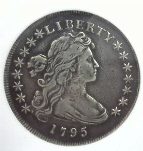 1795 DRAPED BUST SILVER DOLLAR EXTREMELY FINE~RARE THIS NICE!! SILVER GREY TONED