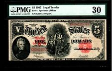 1907 $5 Large Size Notes Legal Tender PMG VF 30