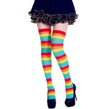 Womens Long Striped Socks Contrast Color Thigh High Stockings Cosplay Halloween