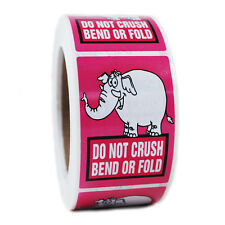 """Pink Elephant """"Do Not Crush Bend or Fold"""" Stickers - 3"""" by 2"""" - 500 ct - SL064F"""
