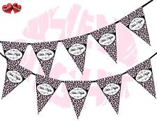 Hen Night Sign Leopard Spots Print Hot Pink Party Style Bunting Banner Stylish