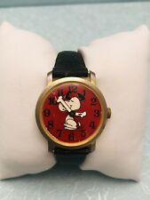 Vintage Schulz 1968 Swiss Made Snoopy Wind Up Watch United Feature Syndicate Red