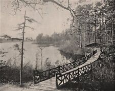Kissing Bridge, Lakewood, New Jersey 1895 old antique vintage print picture