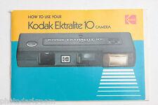 Kodak Ektralite 10 Film Camera Instruction Manual Book English - Used B95