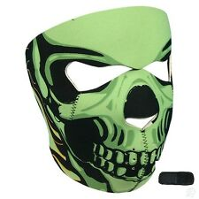 Neon Green Goblin Skull Neoprene Face Mask & Extender for Large XL Head Costume