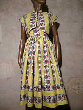 CHIC VINTAGE ROBE & BOLERO 1950 ZAZOU VTG DRESS 50s ROCKABILLY ABITO  (36/38)